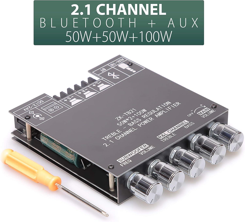 UWAYKEY Bluetooth Amplifier Board 2.1 Channel Class D AMP Module with Dual TPA3116D2 Chip