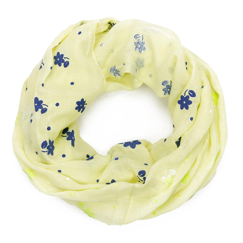 MANUMAR Loop-Schal für Damen   Hals-Tuch in verschiedenen Farben mit Blumen Motiv als perfektes Herbst Winter Accessoire   Schlauchschal   Damen-Schal   Rundschal   Geschenkidee für Frauen und Mädchen