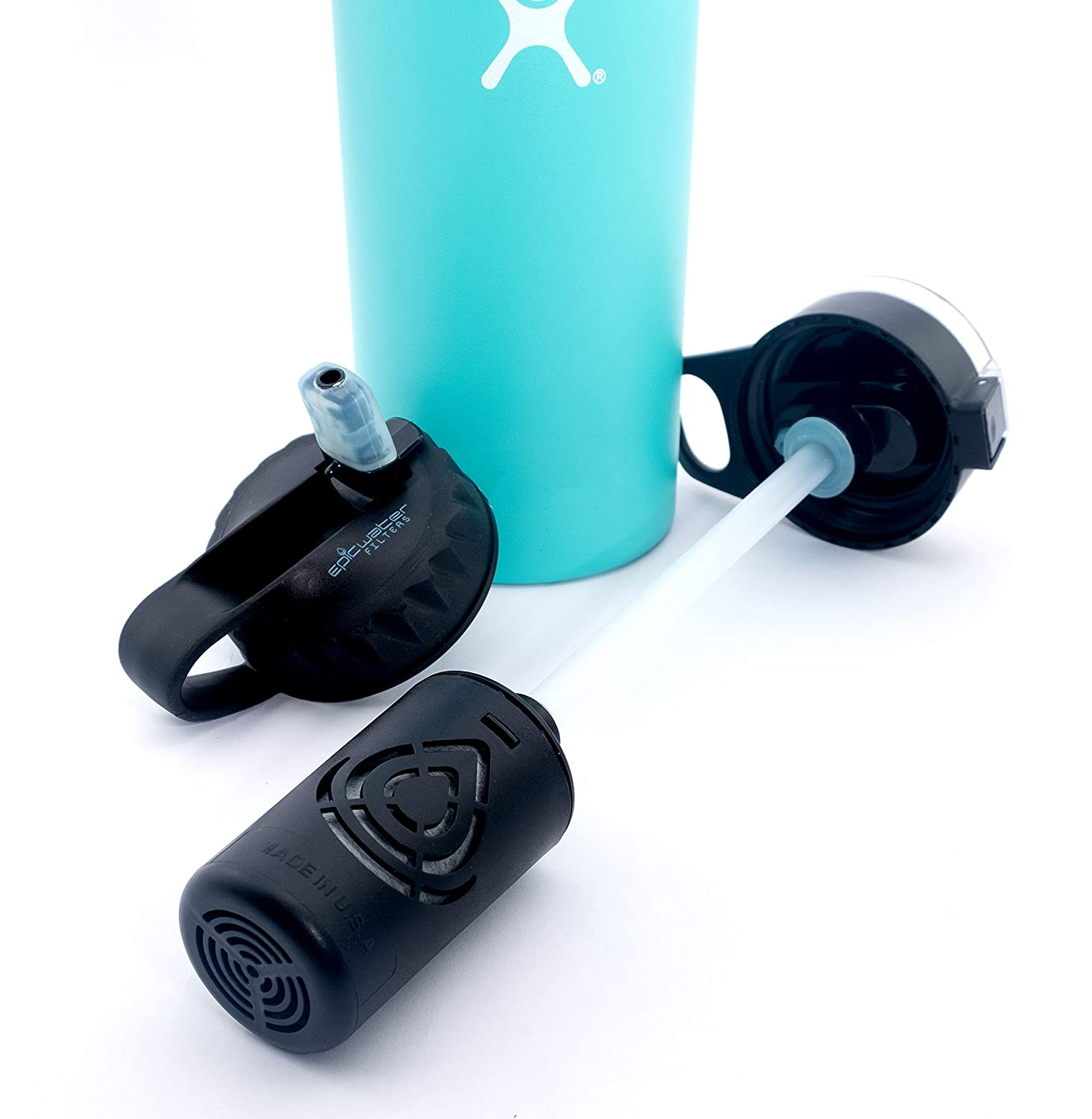 The Answer   Hydro Flask Compatible Water Bottle Filter System   Filter  Straw Lid Combo for Hydro Flask Bottles   American Made 5 Stage 2 Micron