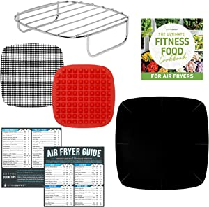 Air Fryer Accessory Set with Healthy Food Recipe Book Compatible with Ninja Foodi, Bella, GoWise, Habor, Paula Deen, Power Airfryer Oven, Vortex, Yedi, Cozyna +more | Cookbook and Cheat Sheet Magnets