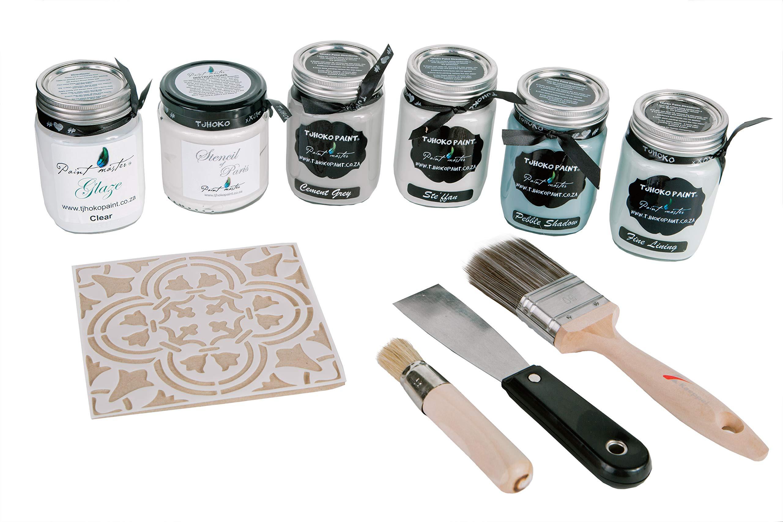 Tjhoko Paint's Deco Art Chalk Paint Kit - No Voc Paint for Chalk Couture & DIY Indoor & Outdoor Furniture (Cement Grey)