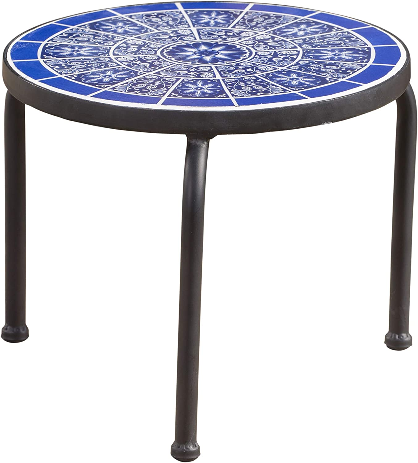 Christopher Knight Home Slate Outdoor Ceramic Tile Side Table with Iron Frame, Blue / White
