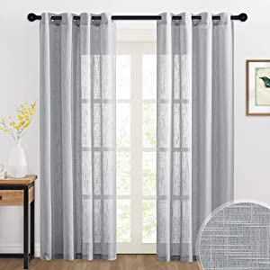RYB HOME Gray Sheer Curtains - Country Curtains Linen Textured Semi Sheers Sun Light Filter Furniture Protect for Living Room Dining Kids Playroom Backdrop, 52 x 90 inch, 2 Panels, Grey