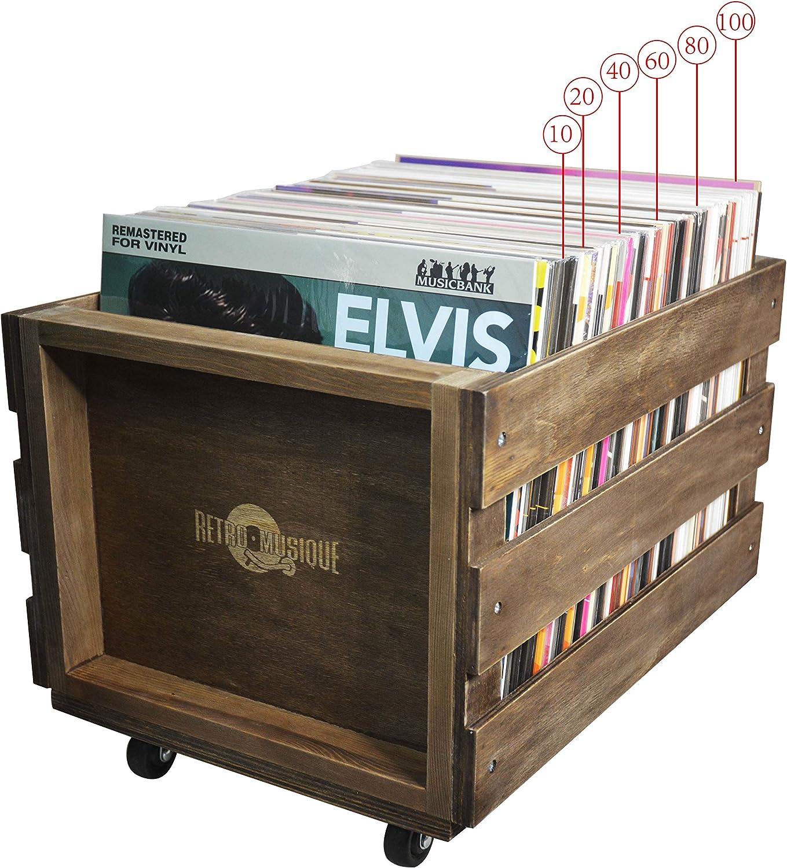 Cajón de Almacenamiento de Registro de LP de madera en Ruedas para ...