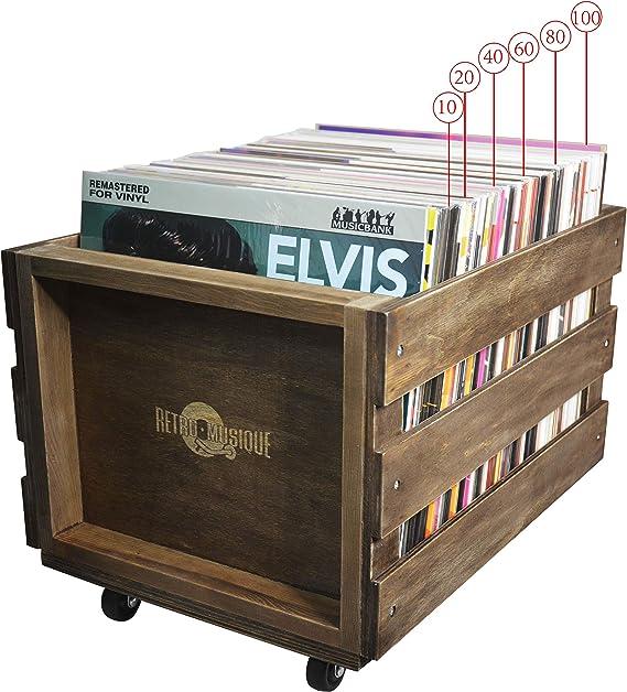 Cajón de Almacenamiento de Registro de LP de madera en Ruedas para hasta 100 álbumes, por Retro Musique: Amazon.es: Electrónica