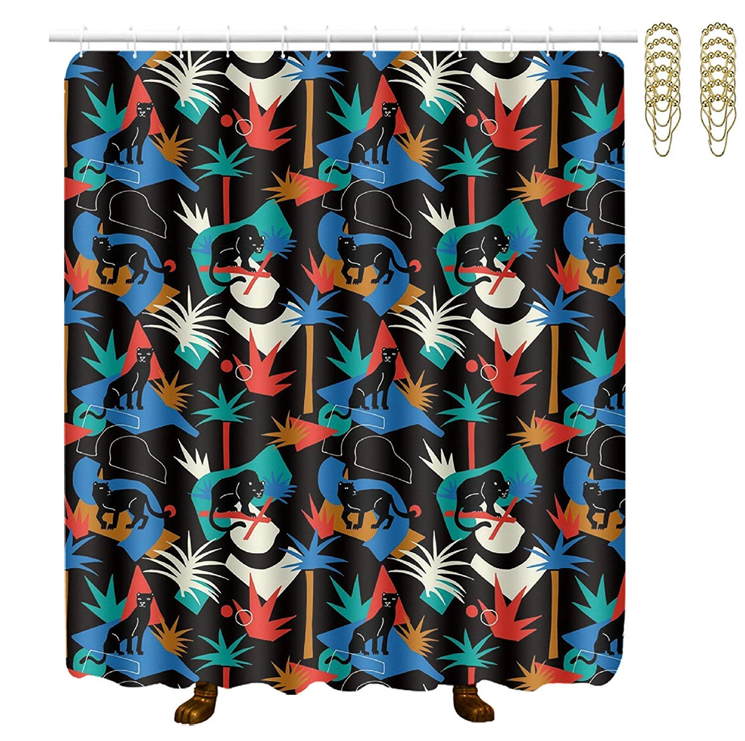 COVASA Decorative Water Repellant Shower Curtain 72x72 Inches Comes with 12 Hooks (Black Panther in The Jungle Wild Animals)