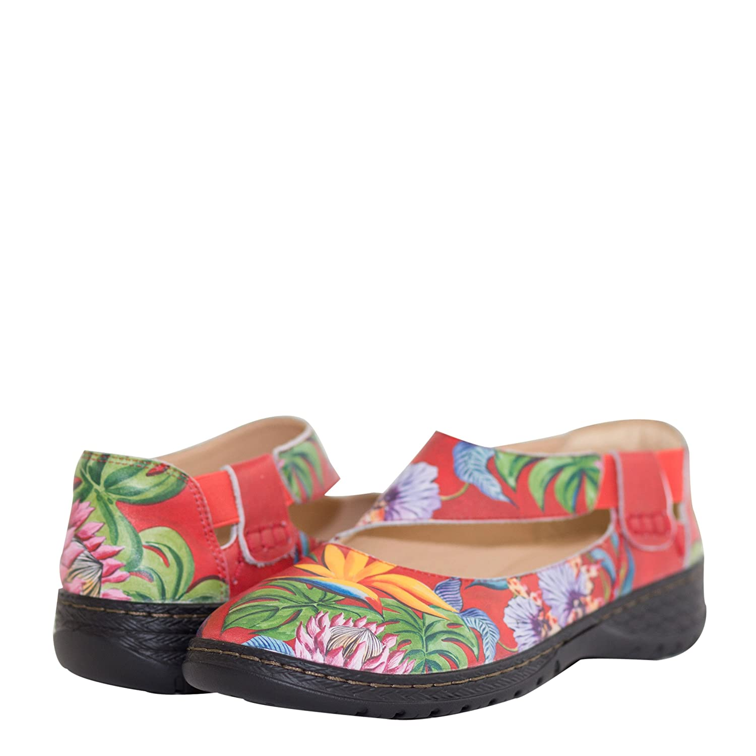 Anuschka Women's Mita Printed Leather Mary Jane,Lovely Leaves B07DB7W8BD 9 B(M) US|Island Escape