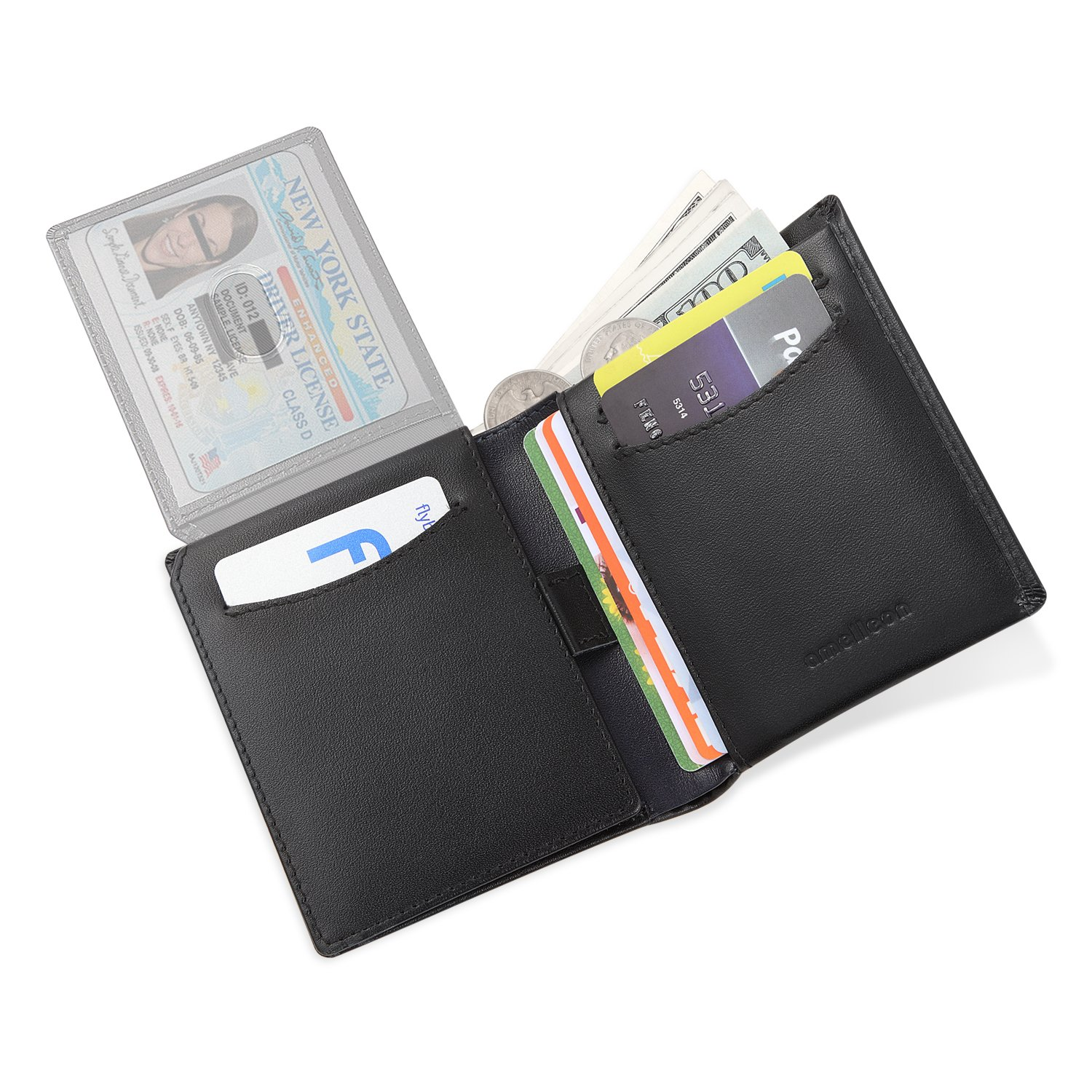 Amelleon Trifold Bifold Genuine Leather RFID Wallets for Men – ID & Photo Window,10 Credit Card Slots,Bill & Coin Pockets-For Work,Travel,Gift&More (Black) by amelleon (Image #7)