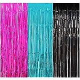 TIK Tok Birthday Decorations TIK TOK Party Photo Backdrop, TIK Tok Party Decorations Fuchsia Black Teal Foil Curtains for TIK