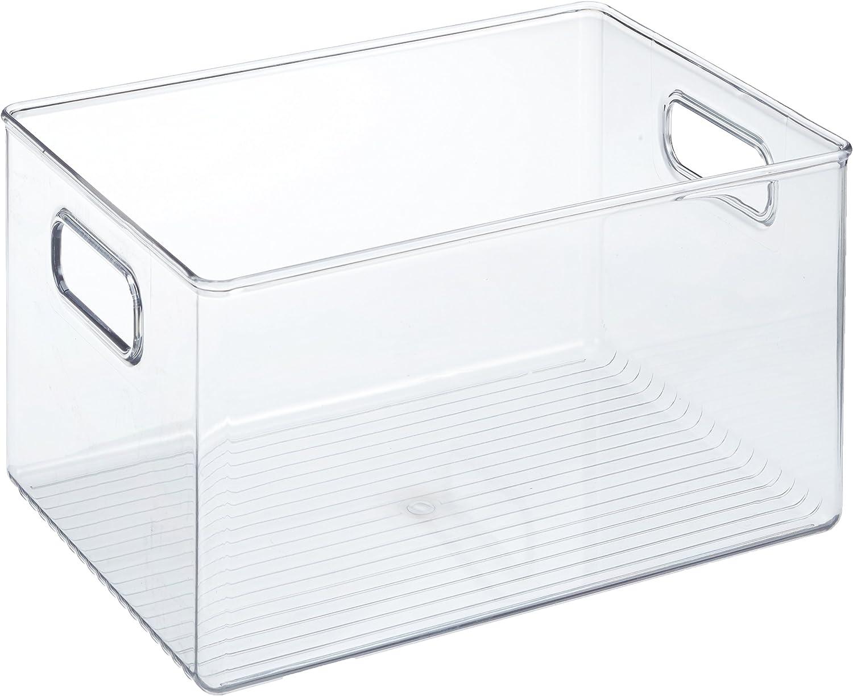iDesign Caja transparente con asas, organizador de cocina extragrande de plástico, caja organizadora sin tapa para los armarios o el frigorífico, transparente