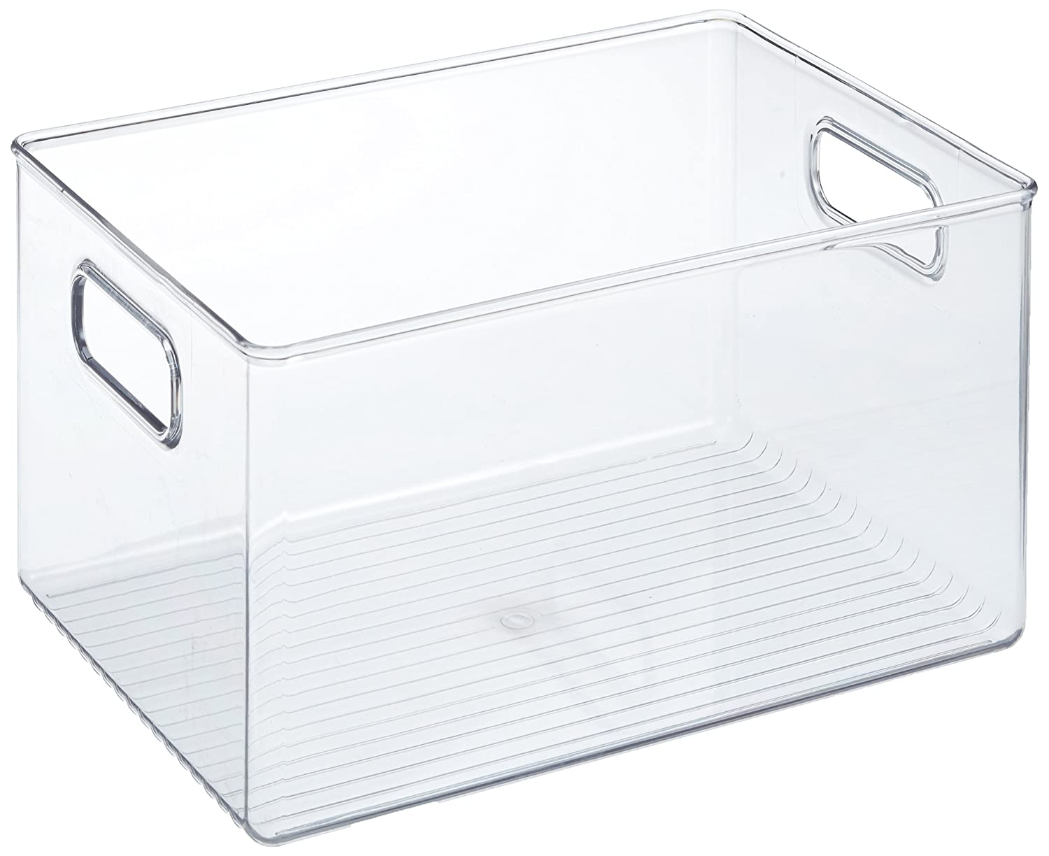 InterDesign Linus Fridge and Cupboard, Kitchen Storage Box with Handles, Plastic, Clear, Large 71938EU