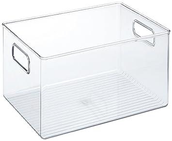 acheter en ligne e72ab 1e885 iDesign boîte de rangement à poignée, bac plastique extra-grand pour le  placard ou le frigo, bac alimentaire sans couvercle, transparent