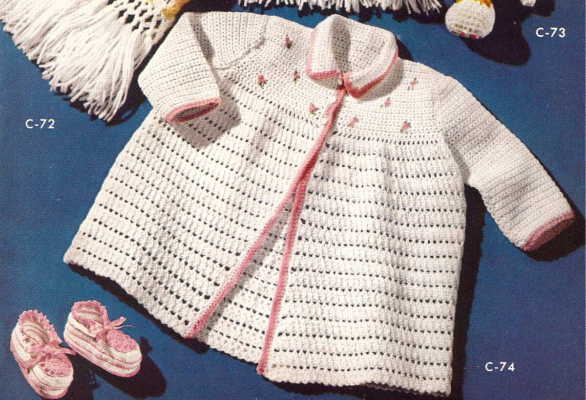 Vintage Crochet PATTERN to make - Baby Sacque Sweater Booties Set. NOT a finished item. This is a pattern and/or instructions to make the item only.