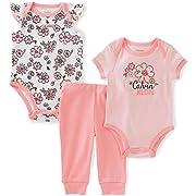 Calvin Klein Baby Girls 3 Pieces Bodysuit Pant Set, Floral, 0/3M