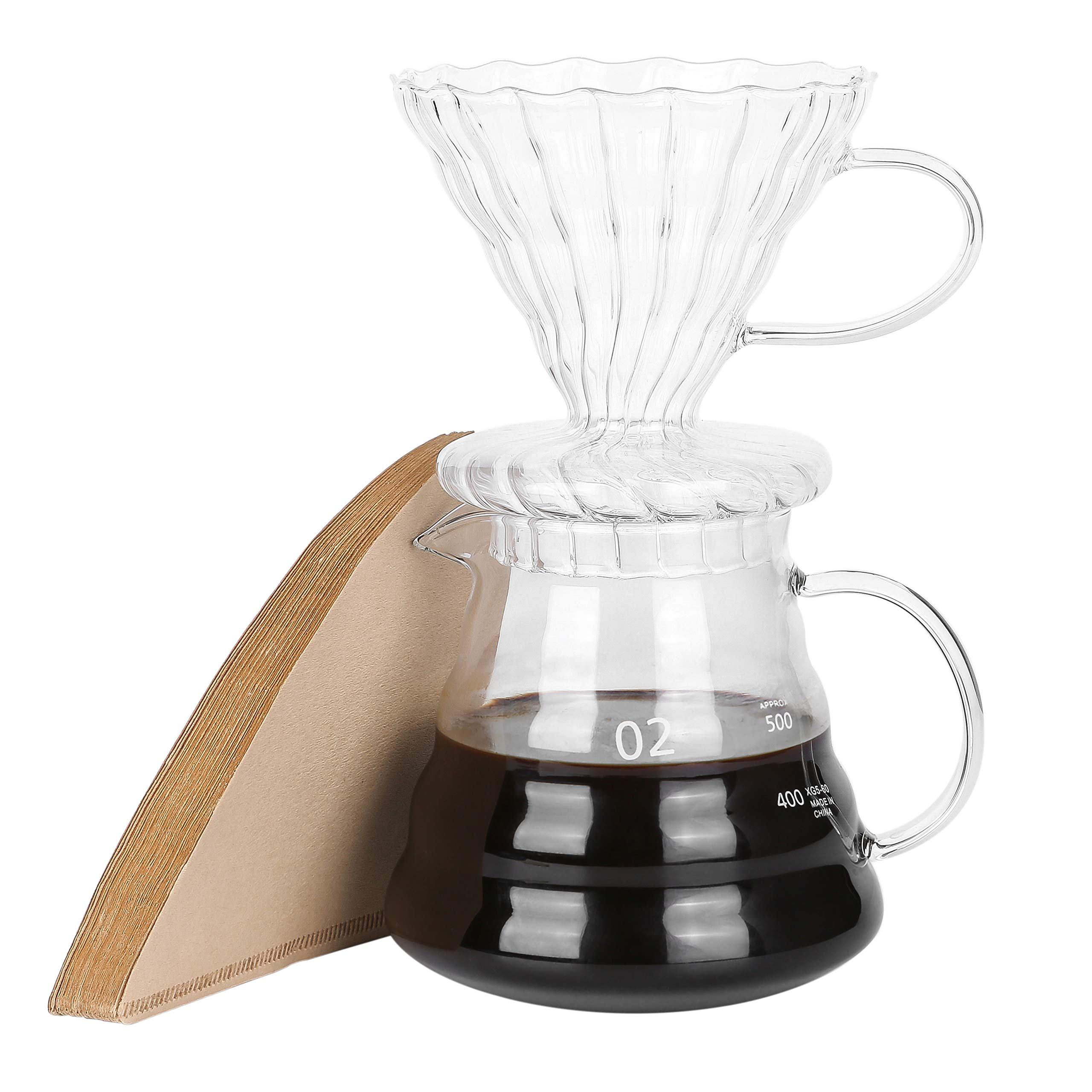 Pour Over Coffee Dripper  Brew 4 Cups Heat Resistant High Borosilicate Glass Coffee Maker Come with Filter Paper 20oz Coffee Server with Lid by HT