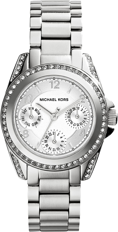 Michael Kors Mini Blair - Reloj análogico de cuarzo con correa de acero inoxidable para mujer, color plateado