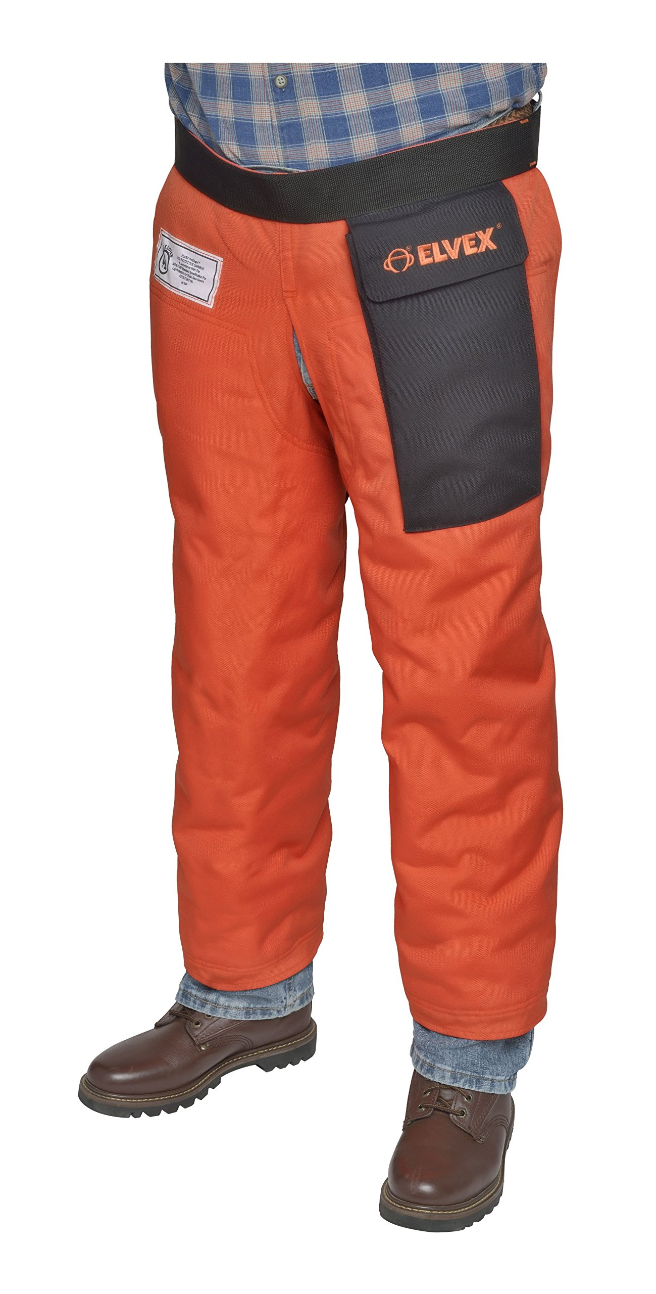 Elvex JE-9133Z ProChapsZ 1000 Denier Wrap Around Calf Protection with Zipper, 33'' Length from Waist, Orange