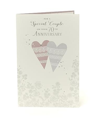Amazon.com: 70th Platino Aniversario de boda Tarjeta de ...