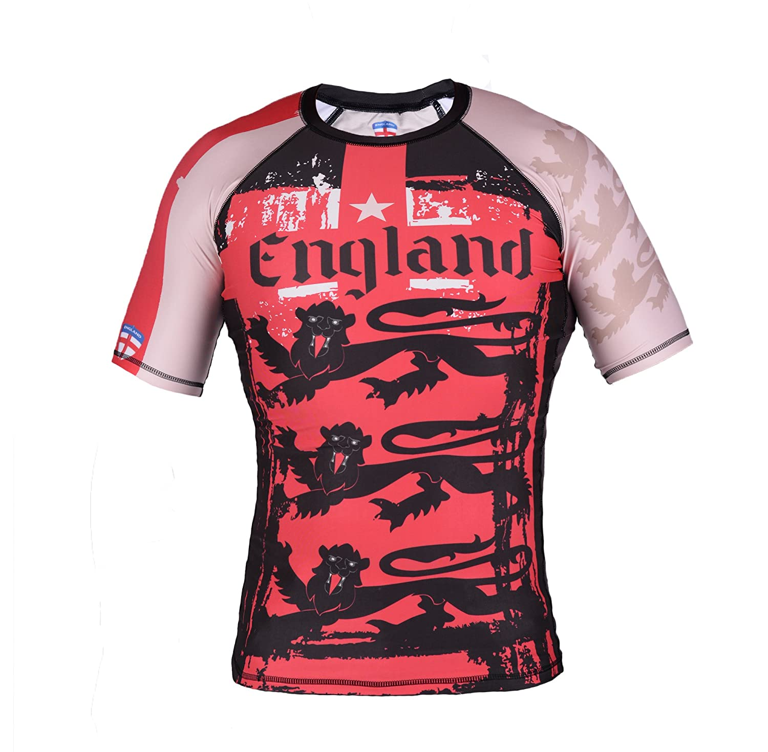 Image of Street Fighter Short Sleeve Rash Guard ENGLAND LIONS