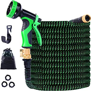 TONGLUBAO Expandable Garden Hose, 100ft Leakproof Garden Hose with 9 Function Spray Nozzle, Flexible Water Hose with Durable 3-Layers Latex Core, 3/4