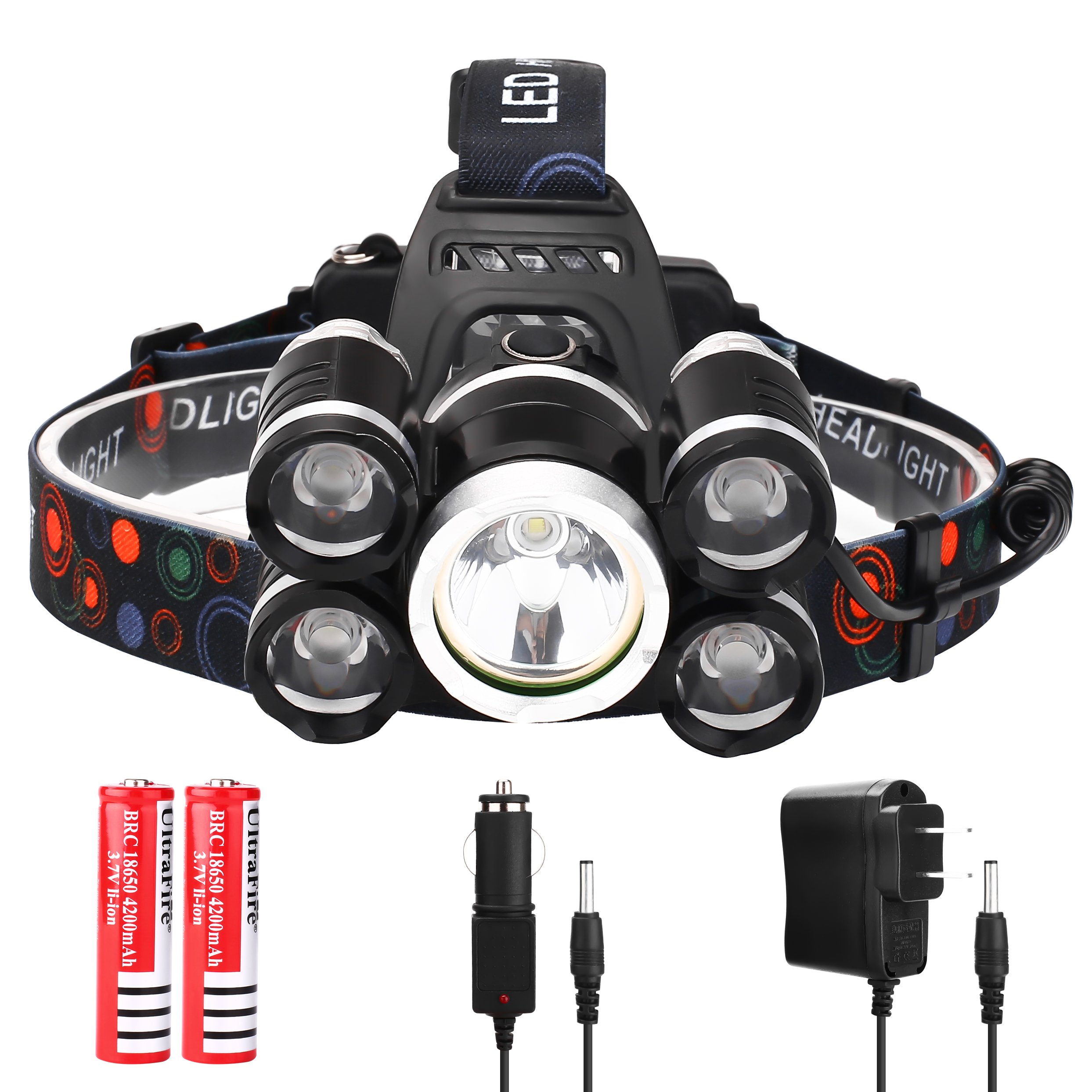 Brightest T6+4Q5 Rechargeable LED Headlamp, Improved Waterproof Headlight Flashlights with Original 18650 Battery,Camping, Fishing Outdoor Night Head Light