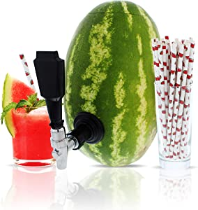Party On Tap Watermelon Tap Kit - Keg Spout, Coring Kit, Instructions Included - Great For Dispensing Juice, Alcohol, Or any Other Beverage At Your Next Party - Includes Watermelon Straws