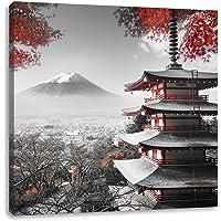 Pixxprint Tempio Giapponese in Autunno Stampa su Tela Decorazione