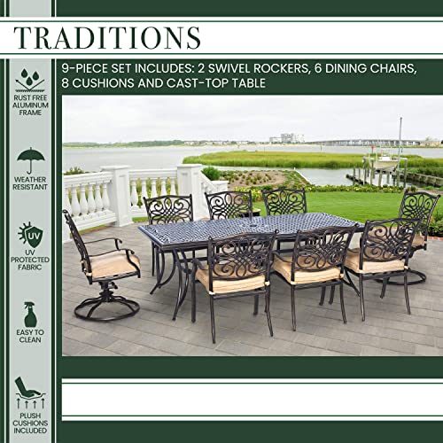 Hanover TRADDN9PCSW-2 Traditions 9-Piece Rust-Free Aluminum Patio Dining Set Outdoor Furniture