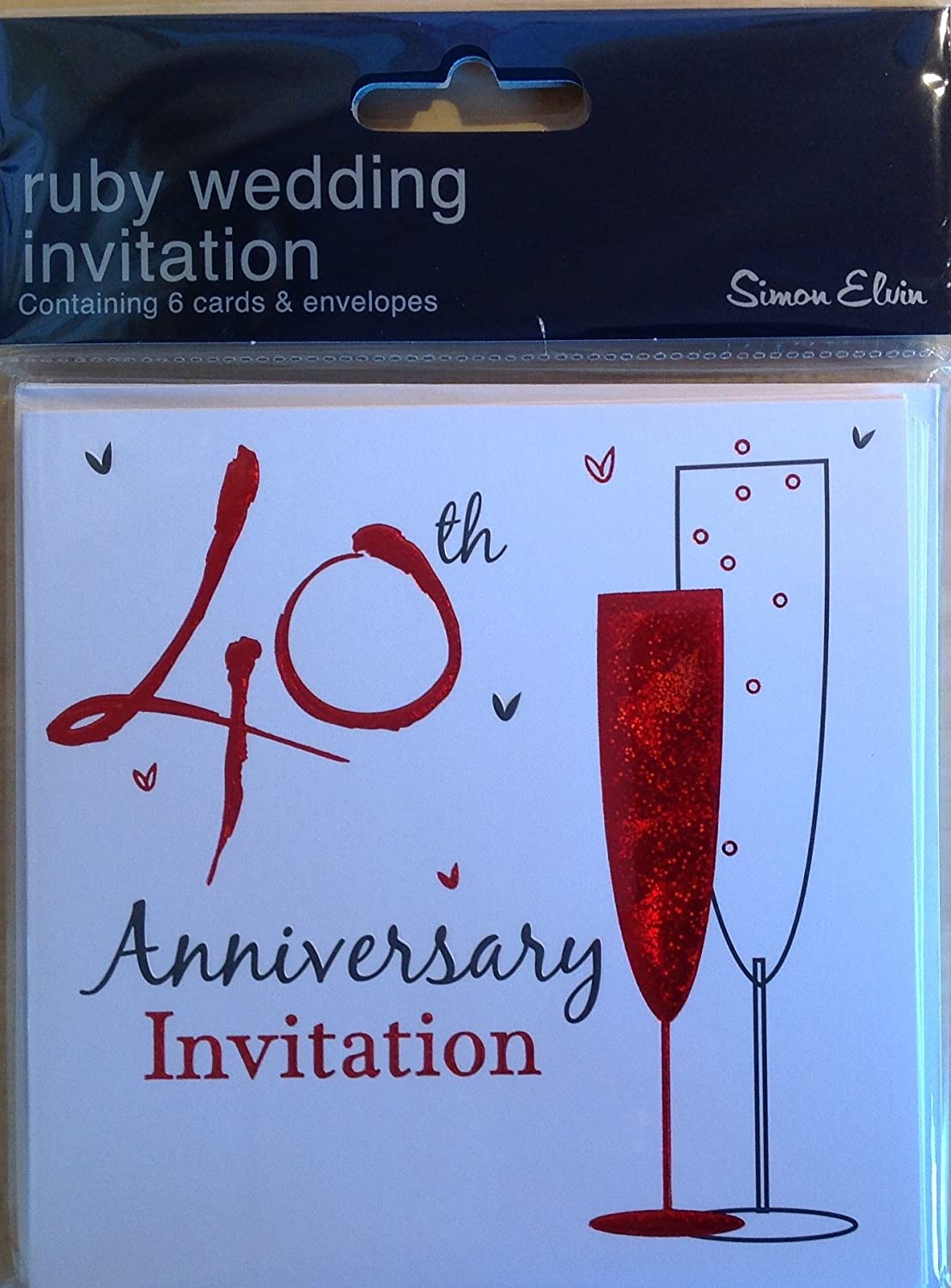 Amazon Com 40th Ruby Wedding Anniversary Party Invitations