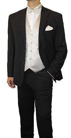 9b78693f91f7b4 Paul Malone Anzug Hochzeitsmode Set 7tlg -Stretch- für Bräutigam  Hochzeitsanzug schwarz Schattenstreifen + Fliegen