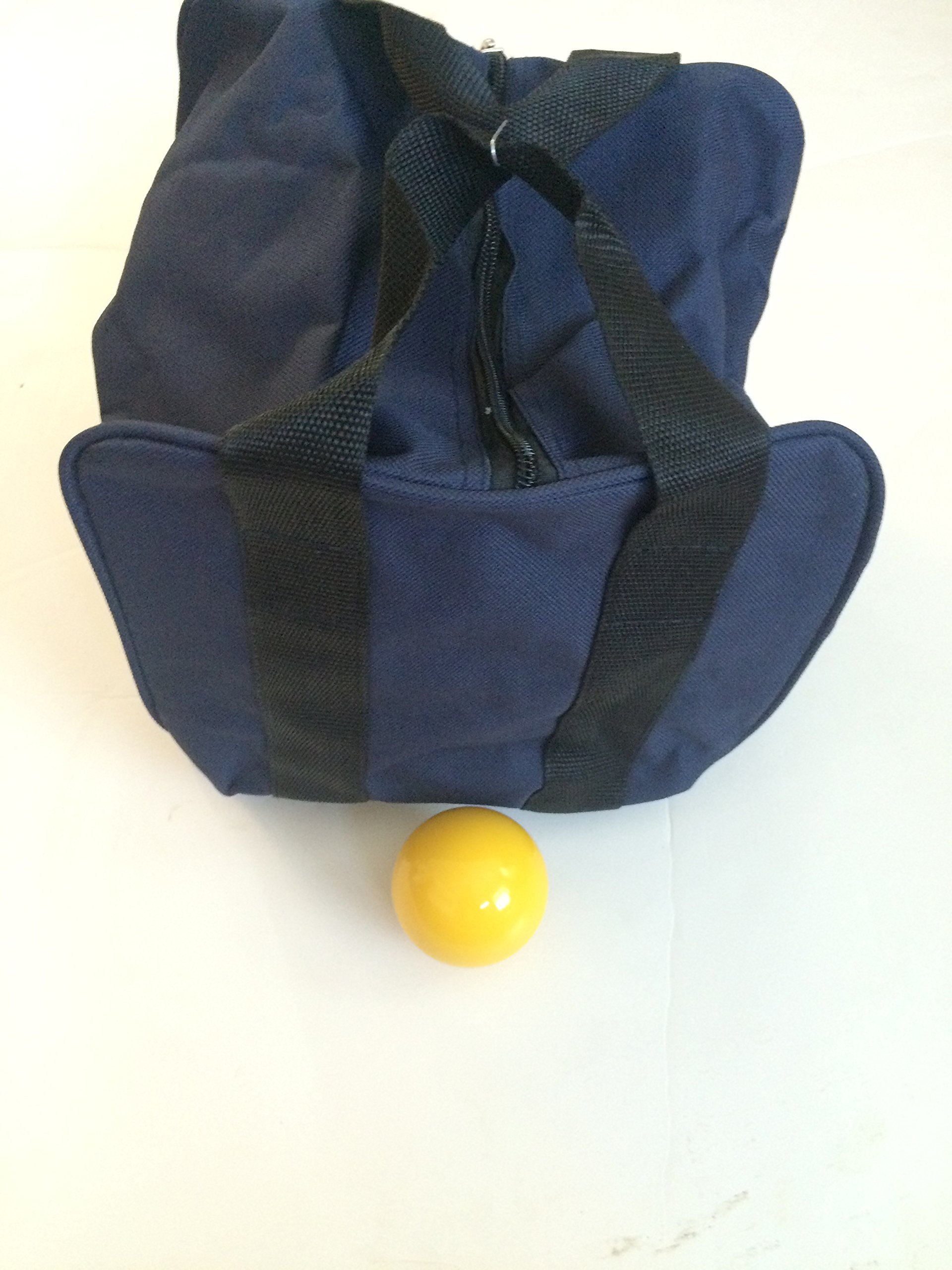 Unique Bocce Accessories Package - Extra Heavy Duty Nylon Bocce Bag (Blue with Black Handles) and yellow pallina by BuyBocceBalls