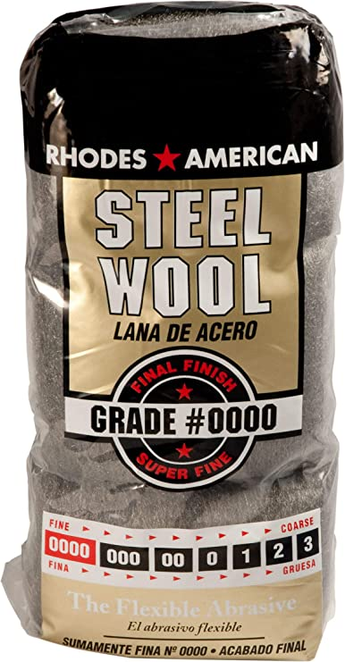 12 pad 12 Pads Steel Wool Rhodes American Super Fine Grade #0000 Final Finish Pack of 3