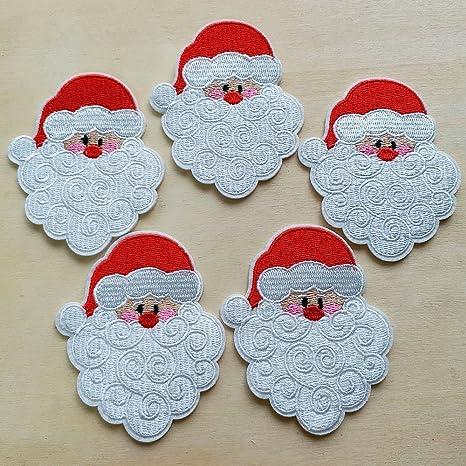 10pcs disfraces Papá Noel cabeza Navidad hierro en Sew en gamuza ...