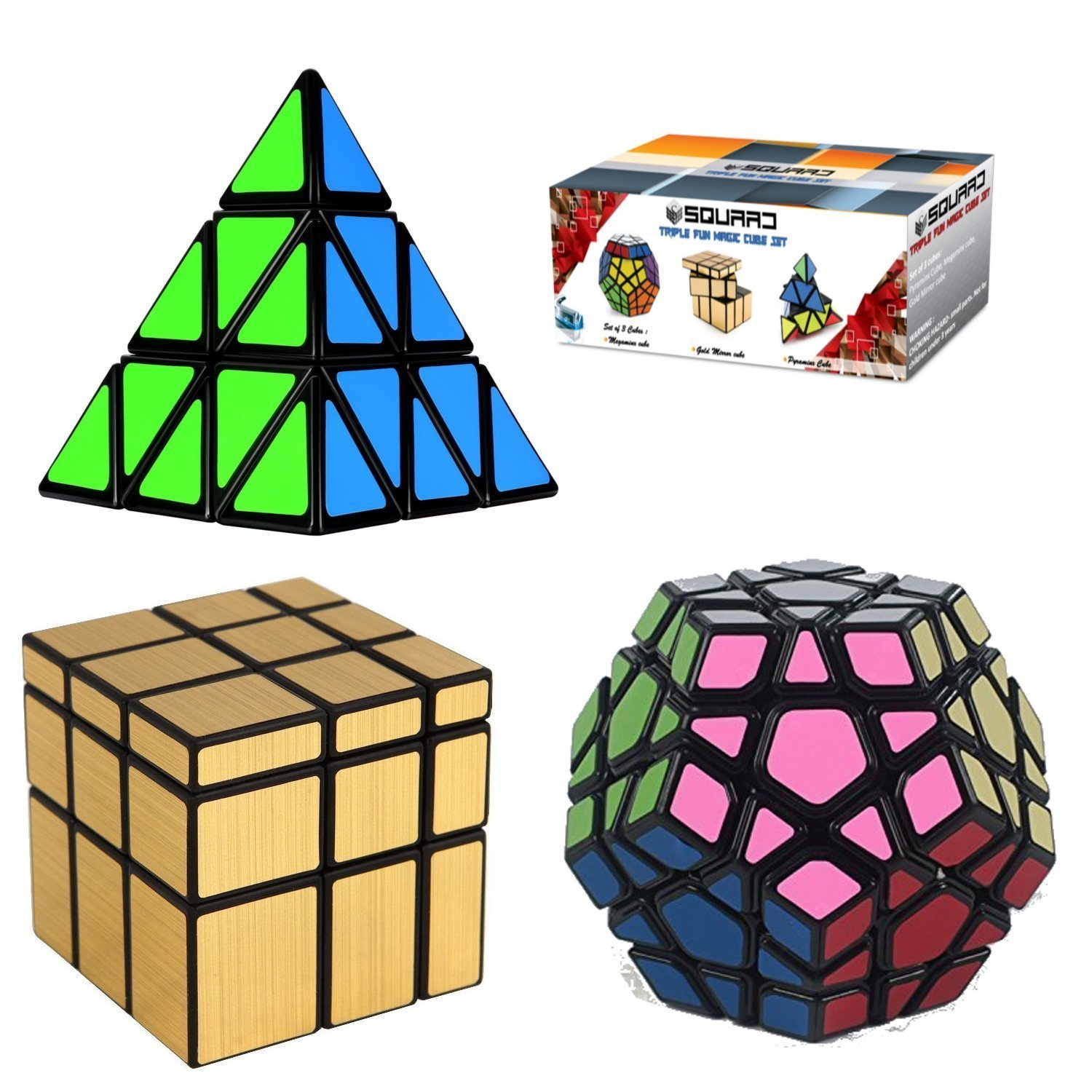 Squaad Magic Cube Set of 3 Popular Cubes bundles- Pyraminx Pyramid 3-d Puzzle cube, Megaminx Cube and Gold Mirror Cube , Black, Great Entertainment For Adults and Kids Kirpa creation
