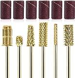 GreenLife® 6pcs Nail Drill Bits Kit Gold Carbide with 6 Rings Files Set A