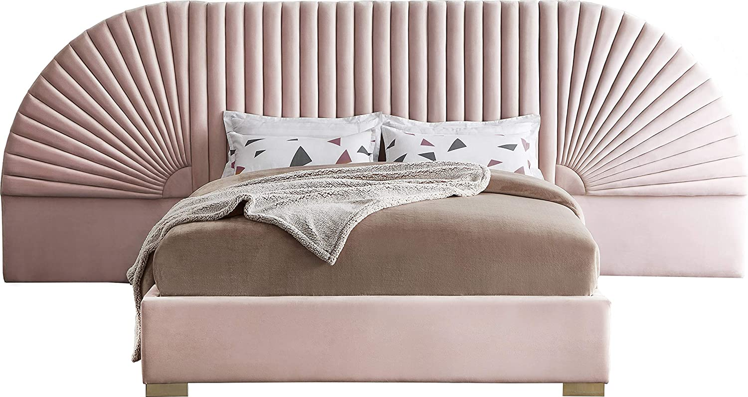 Meridian Furniture Cleo Collection Modern | Contemporary Velvet Upholstered Bed with Gold Steel Legs and Removable Panels, King, Pink