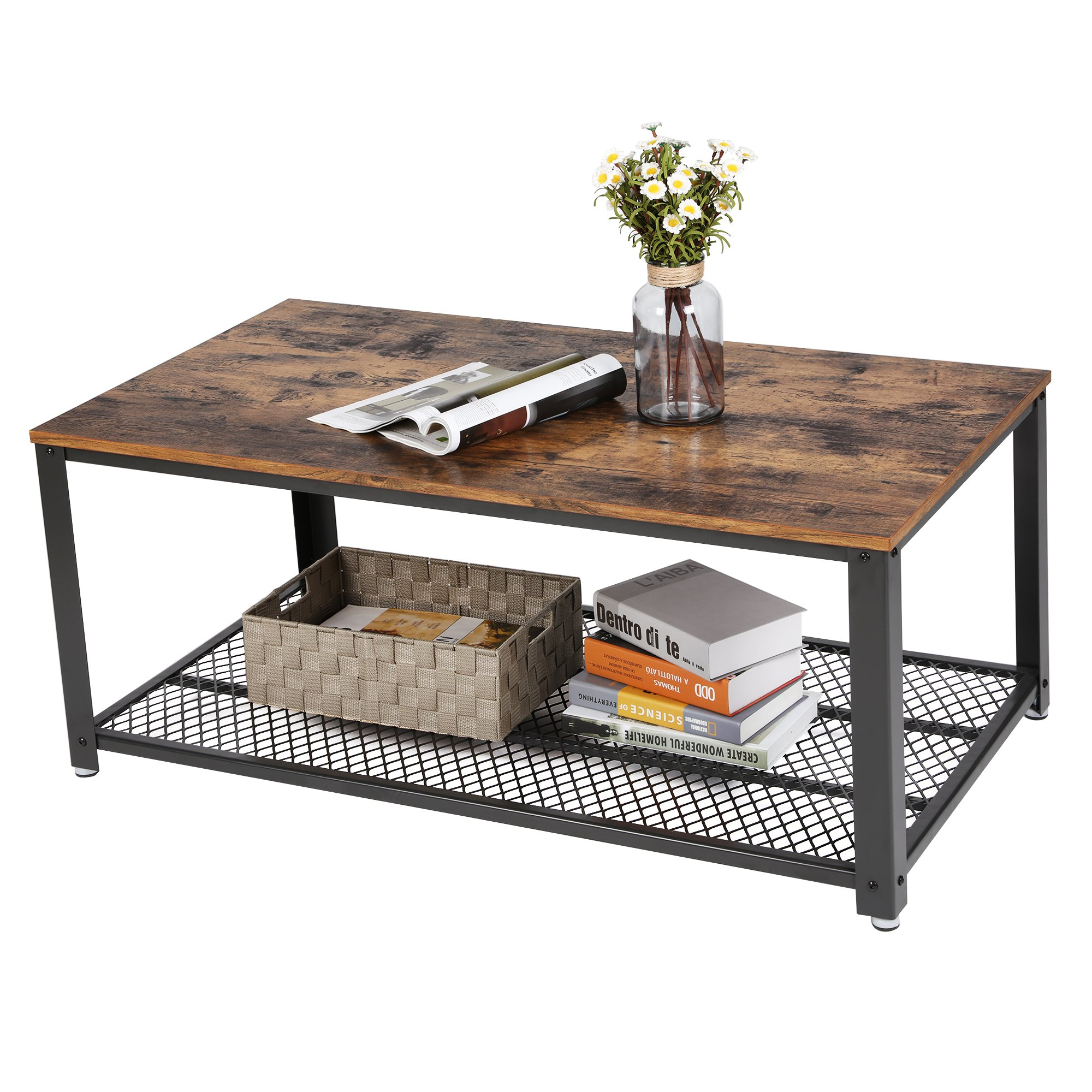 SONGMICS Vintage Coffee Table, Cocktail Table with Storage Shelf for Living Room, Wood Look Accent Furniture with Metal Frame, Easy Assembly ULCT61X by SONGMICS (Image #3)