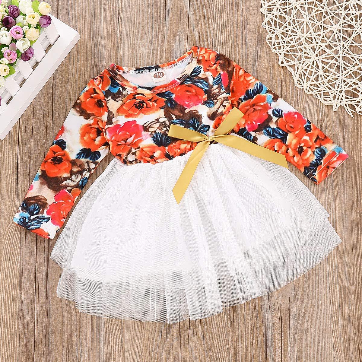 Flower Print + Tutu Skirt, 18-24 Months Tutu Skirt Set for Baby Girl Long Sleeve Flower Print Bowknot Tulle Dress Spring Autumn Clothes