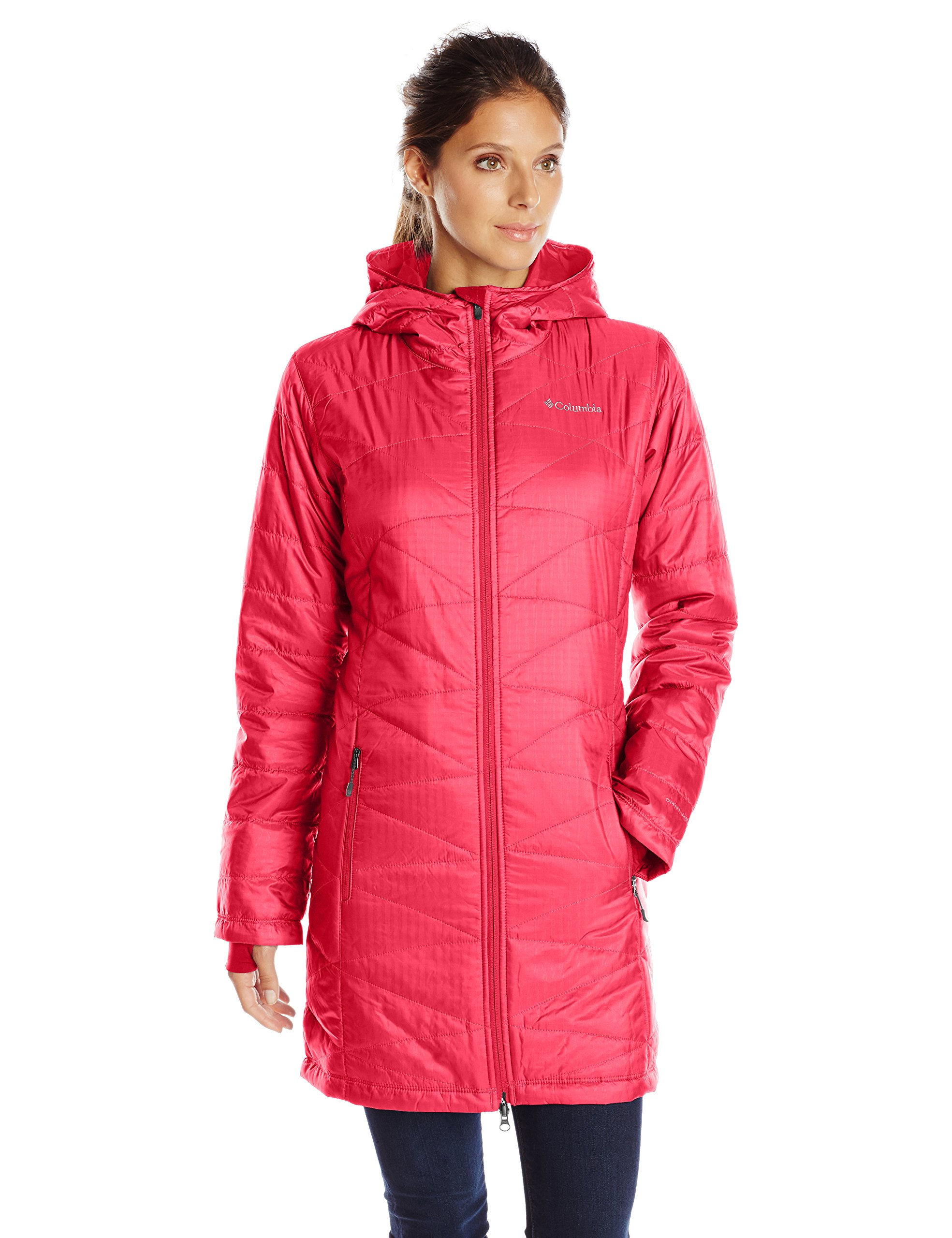 Columbia Women's Mighty Lite Hooded Jacket, Red Camellia, X-Large