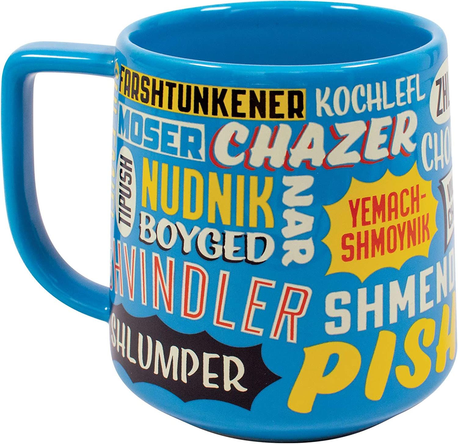 Yiddish Insults Mug - Nudnik to Tipish and More - Comes in a Fun Box