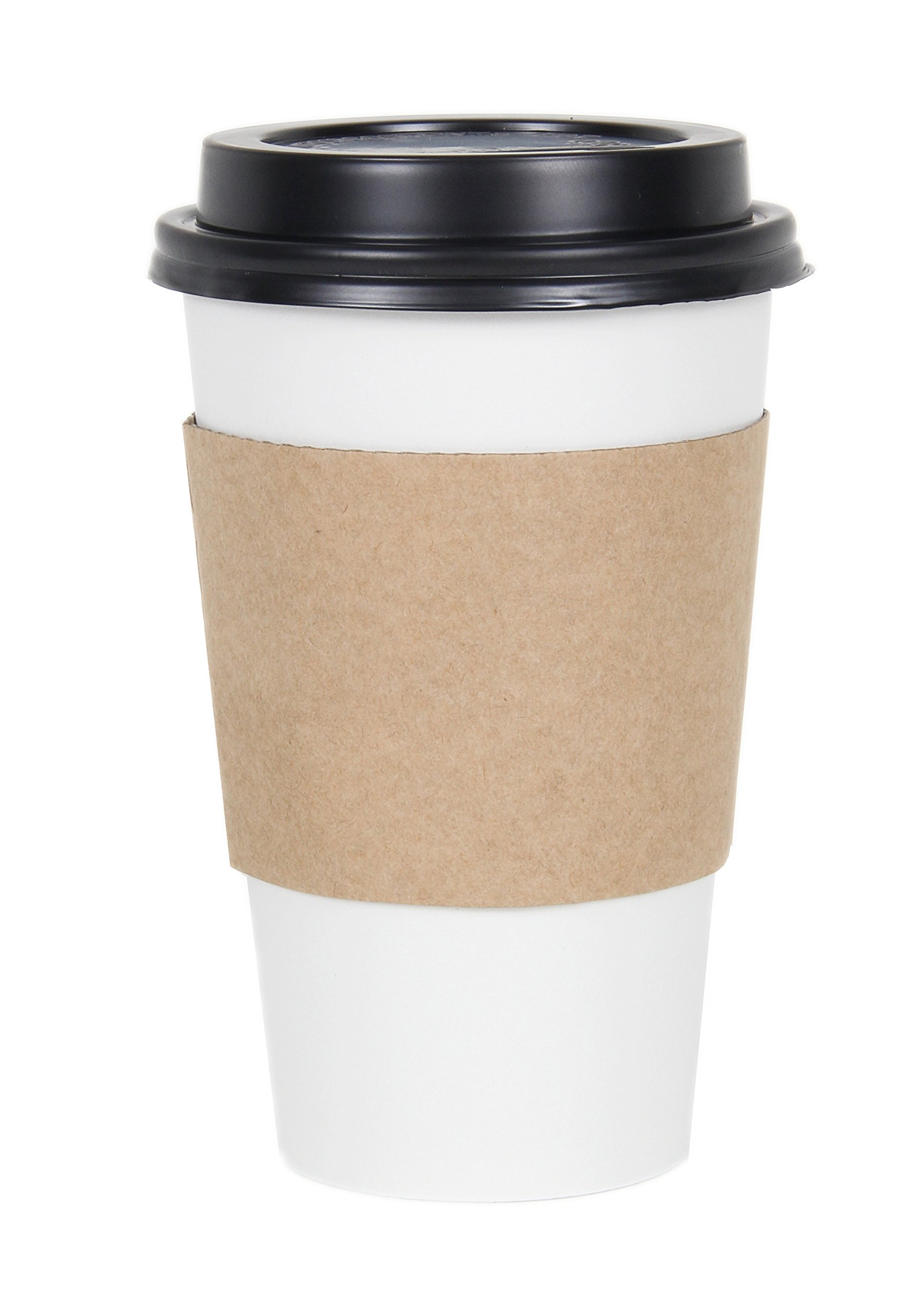 CucinaPrime WHITE Paper Coffee Hot Cups with BLACK Travel Lids and Sleeves - 16 oz, 100 Count