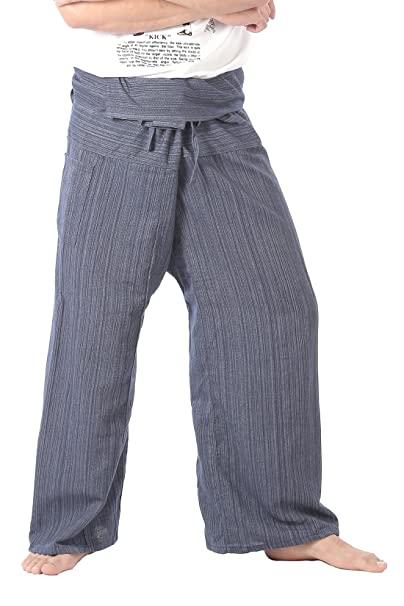 bd753ae2864 CandyHusky s Mens Womens Striped Cotton Fisherman Pants Casual Dance Yoga  Pants (Blue) one size