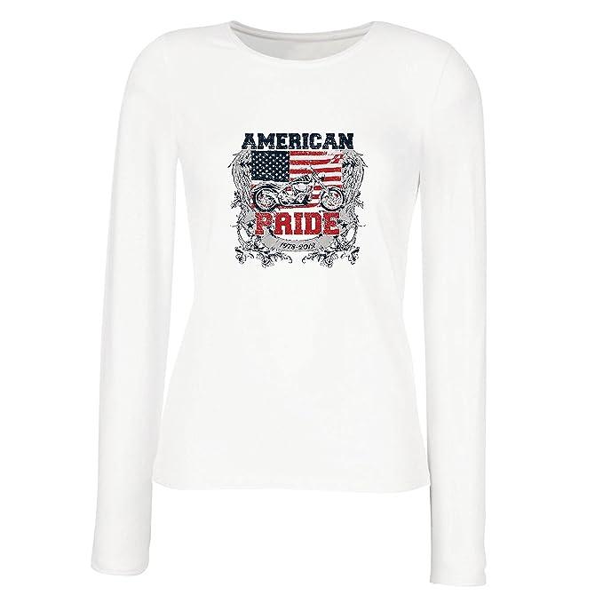 lepni.me Camisetas de Manga Larga para Mujer Classic American Pride Moto, Retro Motorcycle, Vintage Motobike: Amazon.es: Ropa y accesorios