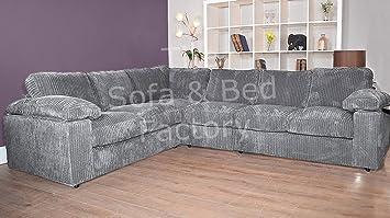 Ruxley Large Fabric 6 Seater Corner Sofa - 2 Corner 3 - Charcoal ...
