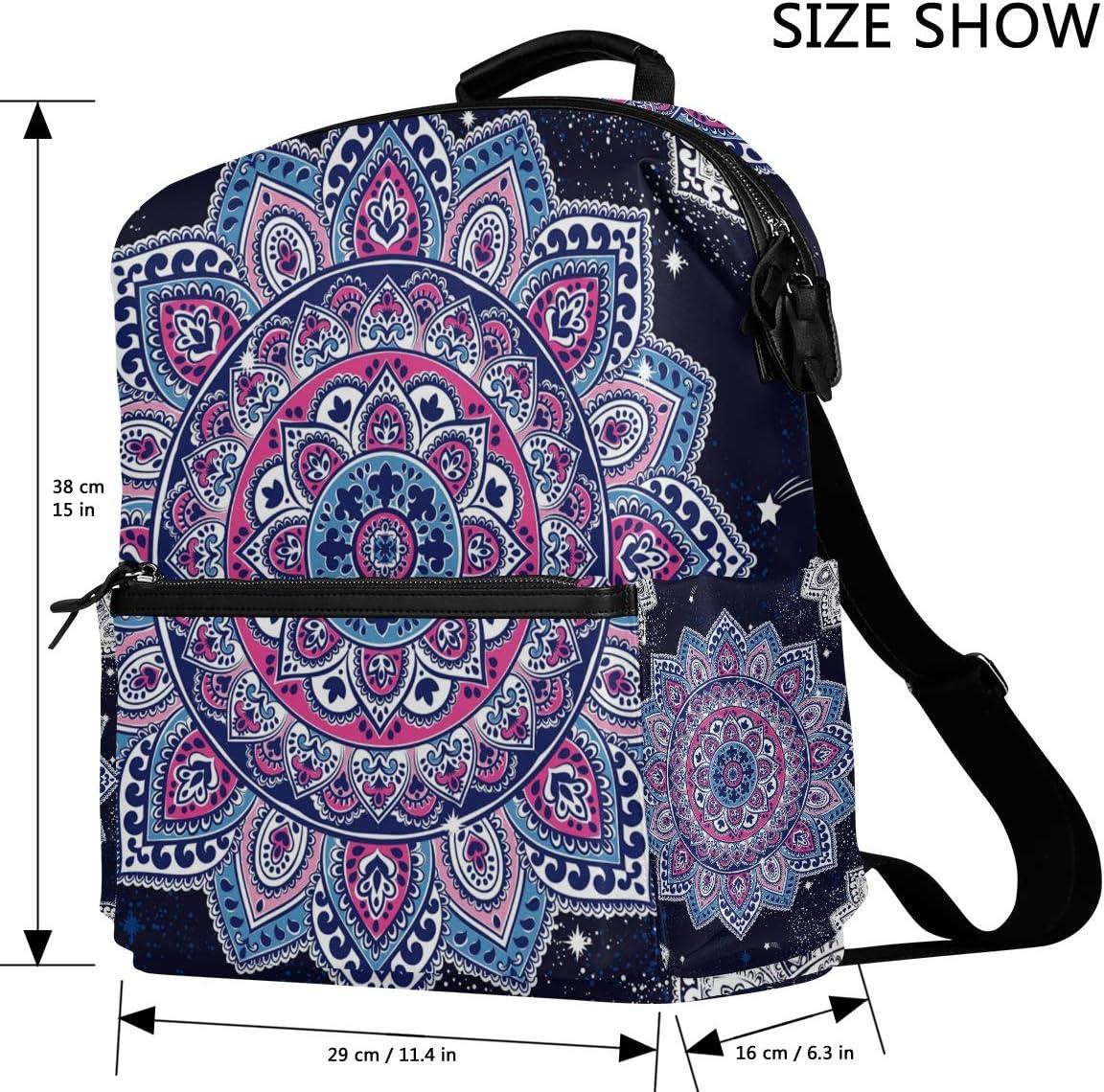 Floral Boho Mandala Vintage Backpack for Women Men Daypack Fashion Laptop Backpack Girl Boy School College Travel Bag Schoolbag