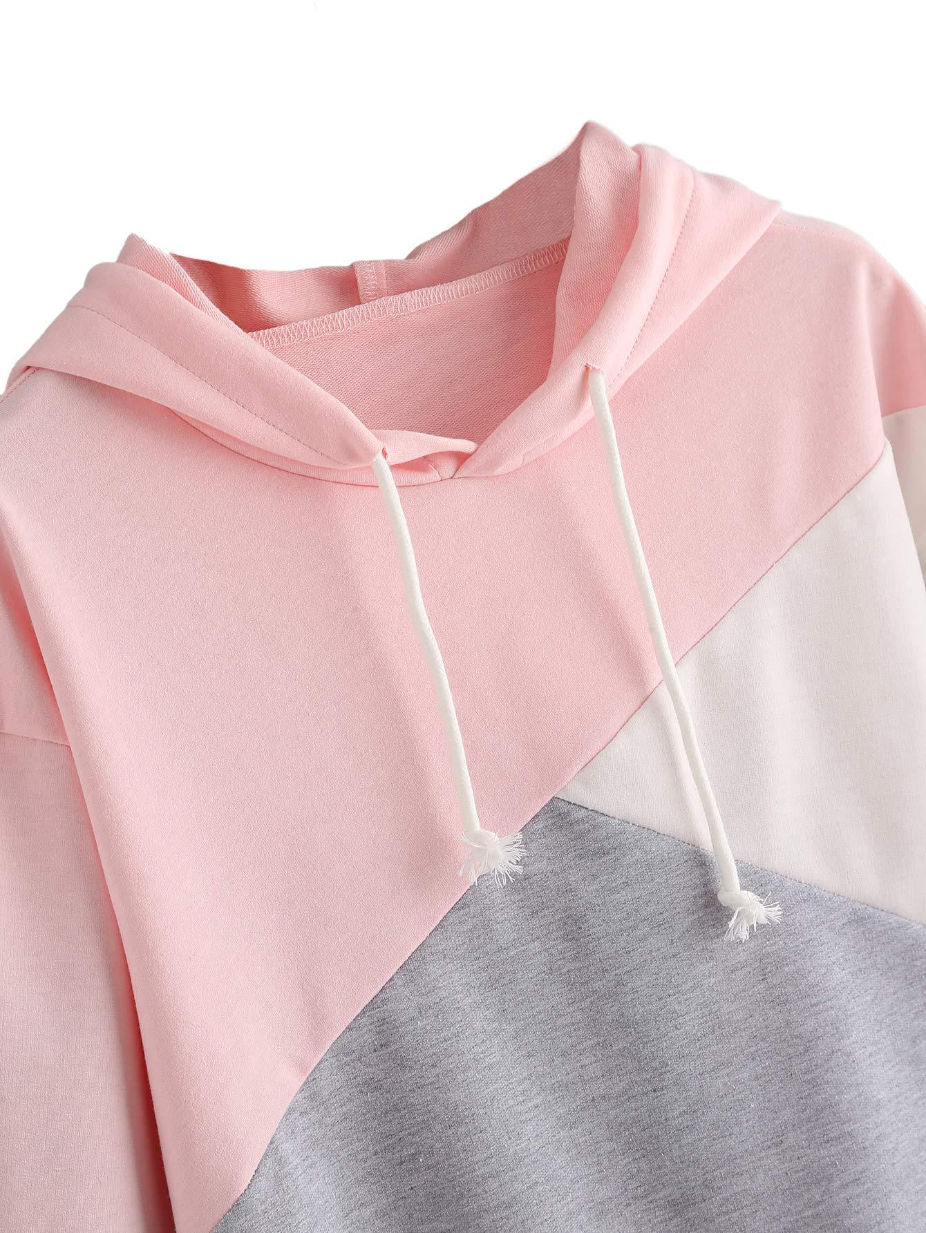 ROMWE Women's Cute Color Block Pullover Crop Top Hoodie Sweatshirt