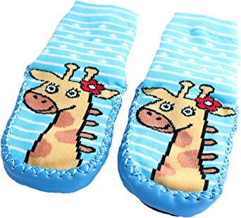 Baby Toddlers Kids Indoor Slippers Shoes Socks Moccasins NON SKID BLUE STRIPED GIRAFFE 9-18 MTHS
