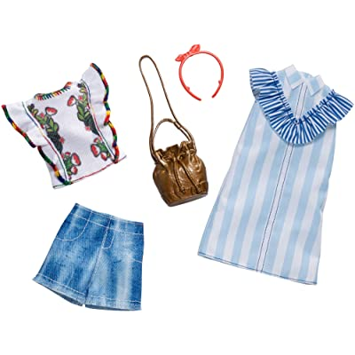 Barbie Clothes: 2 Outfits Doll Include A Blue and White Shirt Dress, Gift for 3 to 8 Year Olds: Toys & Games