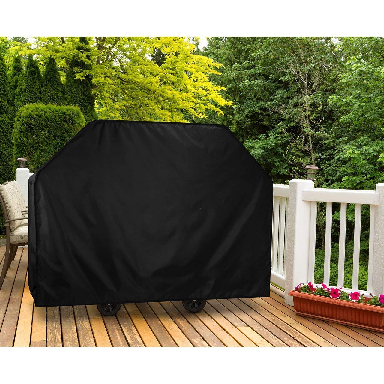 Upgraded Version OMorc 58-Inch Waterproof Grill Cover with PVC Coating Barbecue Cover BBQ Grill Cover Round Outdoor Garden Patio Grill Protection for Holland Brinkmann and Char Broil etc Jenn Air