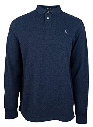 d37a063108b9 Polo Ralph Lauren Men's Custom Slim Fit Long Sleeve Polo Mesh Shirt-MB-XXL  Blue Heather at Amazon Men's Clothing store: